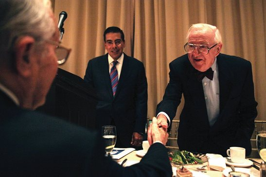 Former U.S. Supreme Court justice John Paul Stevens shakes hands with guests at the 2014 Justice John Paul Stevens Awards Luncheon, an annual program hosted by The Chicago Bar Foundation and The Chicago Bar Association since 2000 that recognizes attorneys for their professional service. Stevens died Tuesday in Florida.