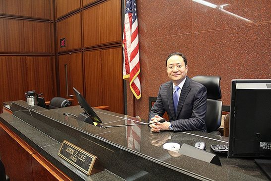 U.S. District Judge John Z. Lee in his courtroom Monday at the Dirksen Federal Courthouse.