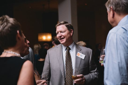 Kirkland & Ellis LLP partner R. Scott Falk takes part in a Chicago Humanities Festival reception in 2017. Falk died May 17. A memorial service will be conducted on Friday at Fourth Presbyterian Church.
