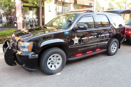A Downers Grove police vehicle. A federal judge ruled the western suburb's enforcement of its anti-panhandling ordinance violated the free-speech rights of two homeless men.
