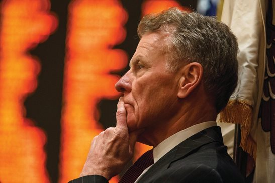 Then-speaker Michael J. Madigan looks out over the floor of the Illinois House in 2017. One month after lawmakers chose a new speaker in Rep. Emanuel Chris Welch, the Southwest Side Democrat announced he'll resign later this month, ending a 50-year tenure in office.